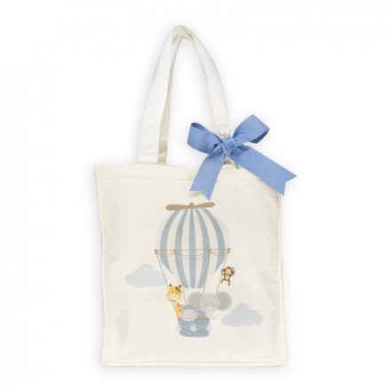 Printed Canvas Bag - Blue Ribbon
