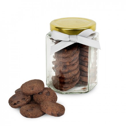 Large Jar of Cookies with label and ribbons (90 grams) - Triple Choco