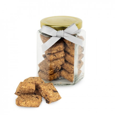 Large Jar of Cookies with label and ribbons (90 grams) - Oat & Raisin