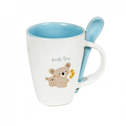 Printed Cereal Mug with Spoon - Blue